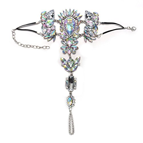 (Willsa Jewelry For Women, Crystal Rhinestones Gem Flower Pendant Ankle Barefoot Sandal Foot Chain (Silver))