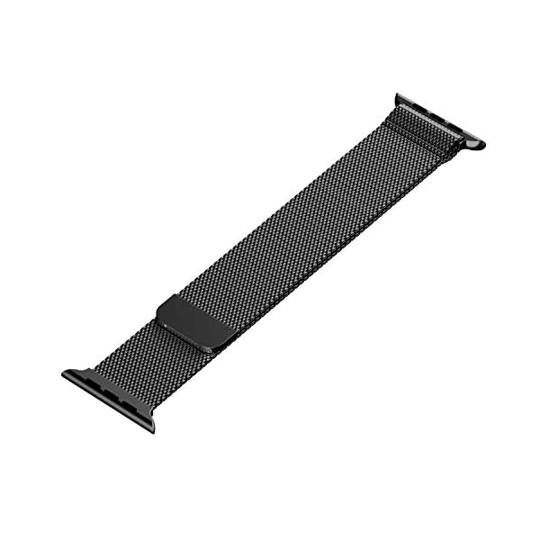 41swVVm5OcL Priefy Loop Strap Stainless Steel Milanese with Magnetic Lock Buckle Compatible with iWatch Series 4 and 5 {44mm Black}