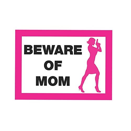 Beware Of Mom Pink Sign - Female Shooter Gun Rights Signs - Plastic 2 Pack supplier