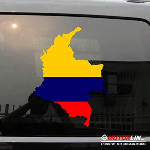 Fotcus Flag Map of Colombia Decal Sticker Car Vinyl Colombian pick size color die cut no background - (Size: 40cm high)