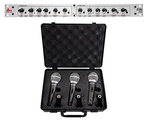 (DBX 234S Stereo 2/3 Way/Mono 4-Way 2 Ch. Crossover +(3) Samson Mics+Mic Clips)
