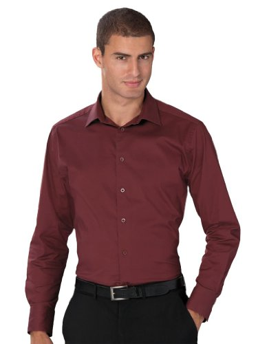 pflegeleichtes körperbetontes Langarm Stretch-Hemd - Farbe: Port - Größe: M