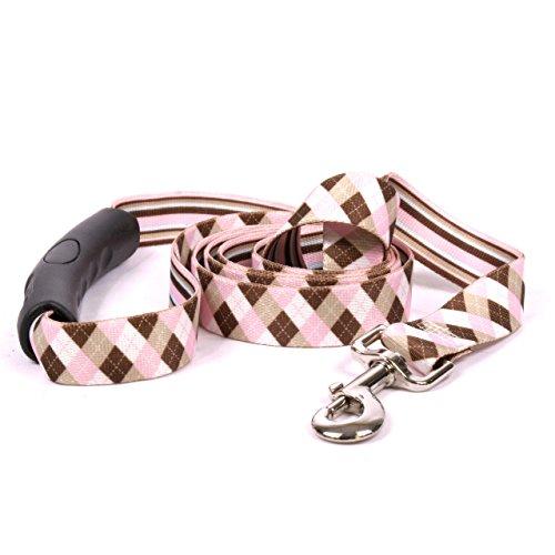 Yellow Dog Design Pink Brown Argyle EZ-Grip Dog Leash with Comfort Handle, Large-1