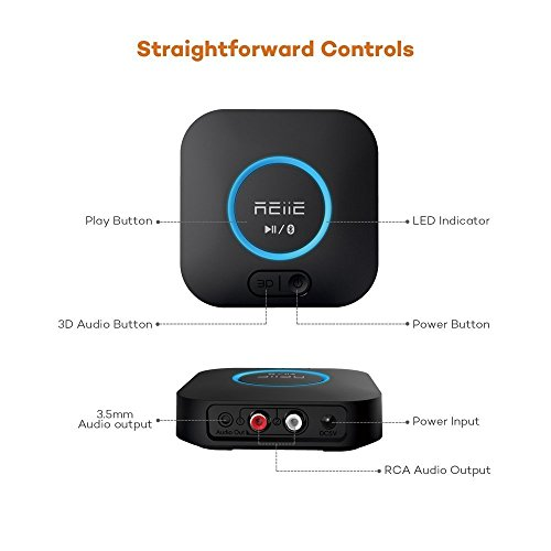 REiiE Audio Bluetooth Adapter Receiver with 3D Surround AptX Low Latency, V4.2 Wireless Audio Adapter for Home and Car Music Stereo Streaming(Pair 2 At Once) by REIIE (Image #4)