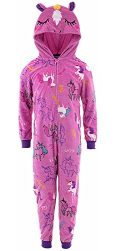 Komar Kids Big Girls' Unicorn Hooded Blanket Sleeper, Fuchsia Grd Prt, L