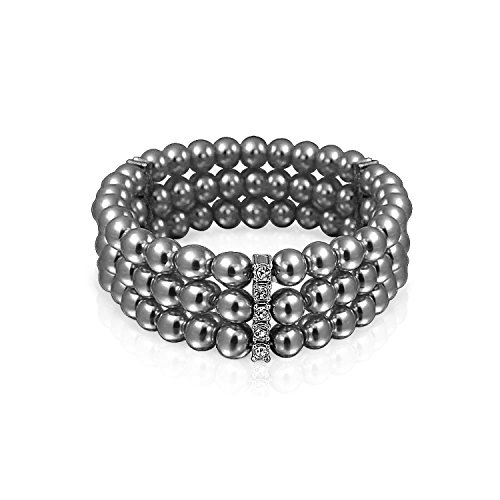 Bling Jewelry Triple Strand 6mm Simulated Grey Pearl Stretch Bracelet 6in