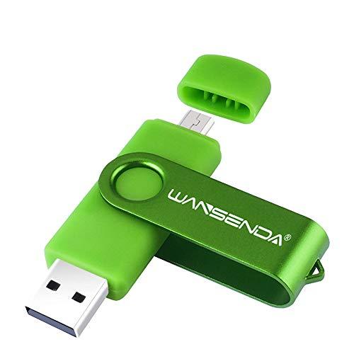OTG Micro USB Flash Drive Double Sided 256GB USB Photo Music External Storage Stick (Green)