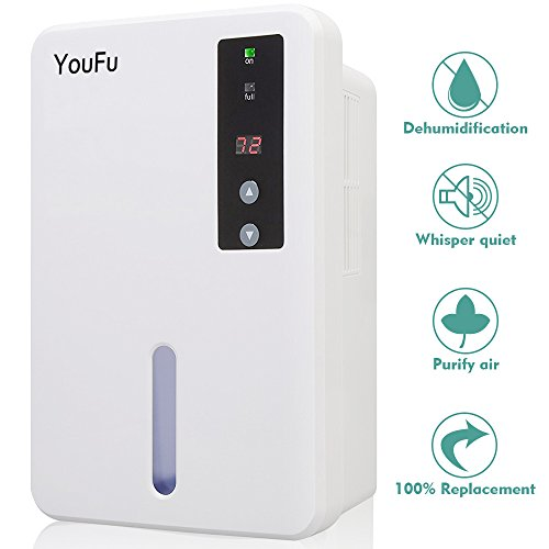 YouFu Small-Size Home Dehumidifier with Auto Humidistat - Sleeping Mode & Touch Panel Control-Great For bedrooms, bathrooms, RV, Laundry or basements Approx 1200 Cubic Feet by YouFu