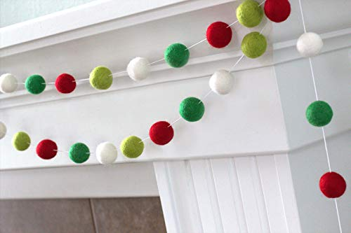"Christmas Felt Ball Garland- Red, Greens, White- 6 ft string with 24 balls, measuring 1"" each - Handmade Wool Felt Ball Garland"