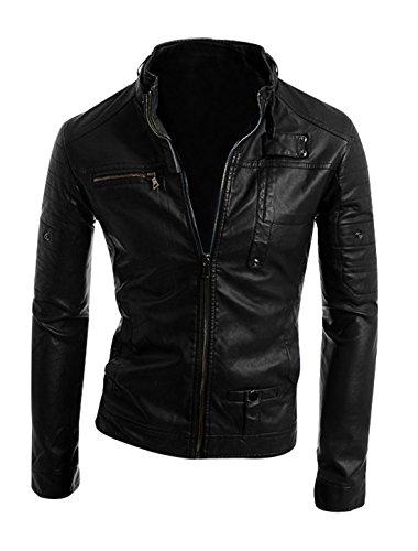 Man Stand Collar Long Sleeve Imitation Leather Coat Jacket Black S