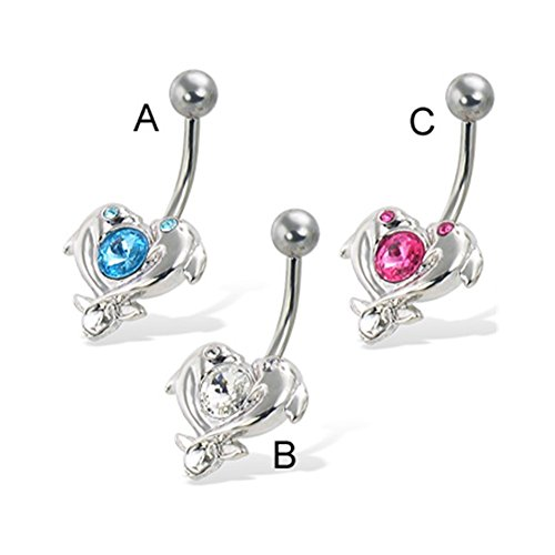 MsPiercing Heart Of Dolphins With Big Gem Belly Button Ring, Aquamarine - A
