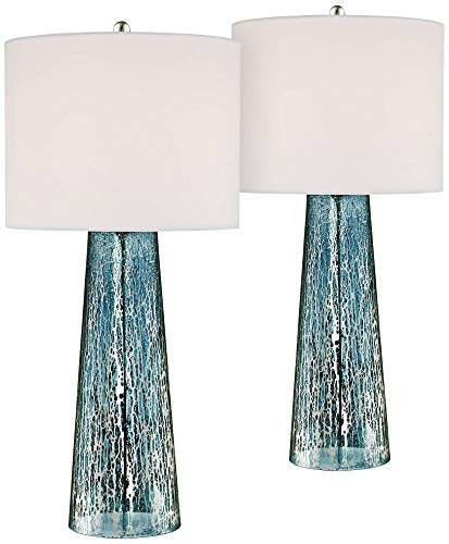 Marcus Coastal Table Lamps Set Of 2 Blue Mercury Glass Tapered Column White Drum Shade For Living Room Family Bedroom 360 Lighting