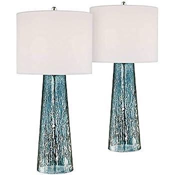 Marcus Coastal Table Lamps Set Of 2 Blue Mercury Glass