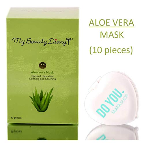 MY BEAUTY DIARY Facial Sheet Mask - ALOE VERA MASK, Optimal Hydration, Calming & Soothing (with Sleek Compact Mirror) #1 Selling Face Mask in Asia, Super Ultra-Thin Masque (Aloe - - Beauty Facial Mask Diary
