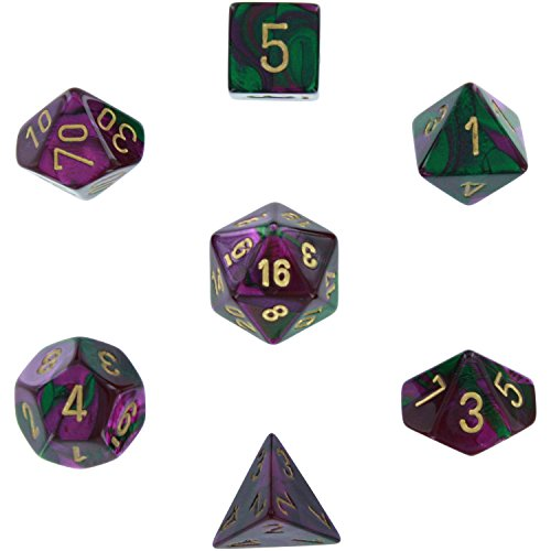 (Chessex Polyhedral 7-Die Gemini Dice Set - Green & Purple with Gold CHX-26434)