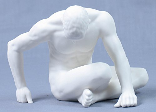 6 Inch All White Porcelain Nude Male Figurine with Bowed Head, Matt