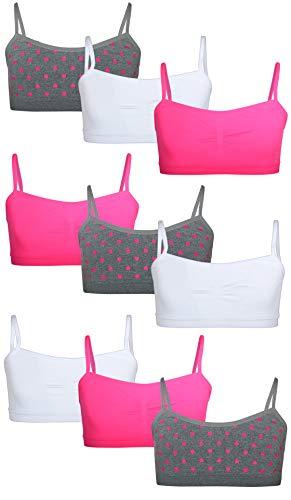 Sweet Princess Girls Nylon/Spandex Seamless Training Bra (9 Pack), Heather Grey/Hearts, Large' ()