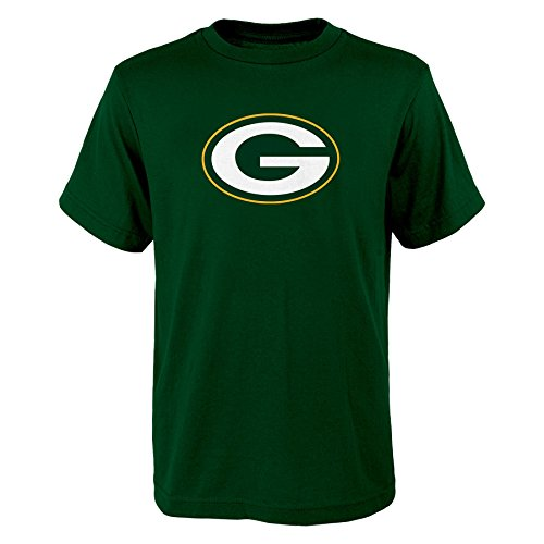 NFL Green Bay Packers Boys 8-20 Primary Logo Short Sleeve Tee, Hunter, Medium (Green Packers T Shirt Bay)