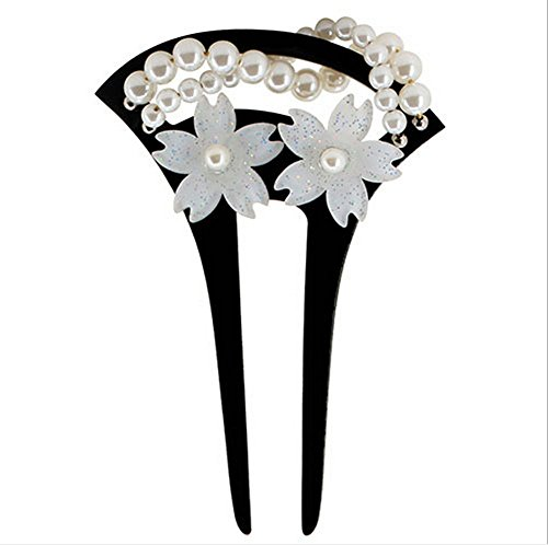 Acrylic Geisha 2-Prong Hair Stick Fork with White Flowers and Faux Pearls