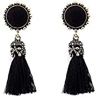 Misaky Vintage Rhinestones Tassel Dangle Stud Earrings Gifts Idea (Black)