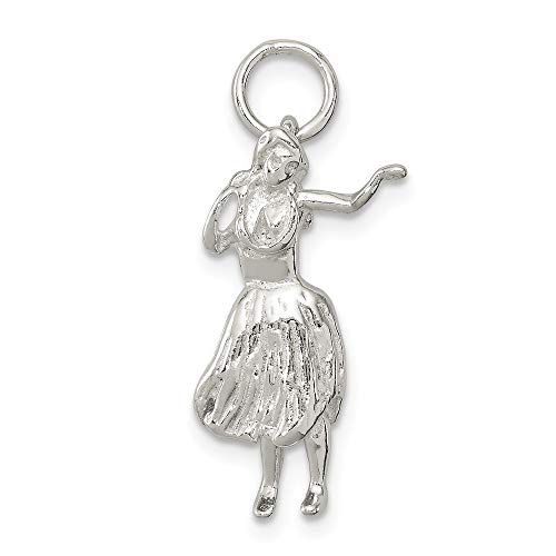 - 925 Sterling Silver Hula Dancer Pendant Charm Necklace Sea Shore Beach Life Fine Jewelry Gifts For Women For Her
