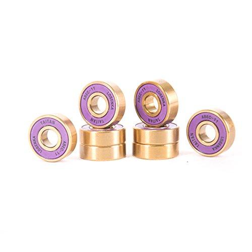 - 8pcs of Skateboard Bearings Titanium ABEC-11 Purple Gold + 4pcs Spacer Skateboarding Sports LOSENKA New
