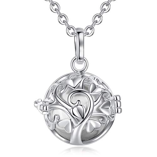 - EUDORA Harmony Bola Tree of Love 20mm Angel Chime Caller Pendant Musical Chime Prayer Bell 30'' Necklace Silver