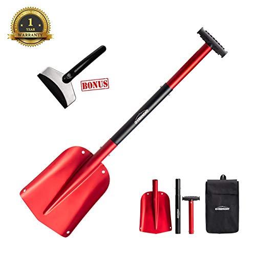 (Overmont Snow Shovel Lightweight Aluminum Sport Utility Shovel Portable Collapsible Mud for Car, Camping, Garden )