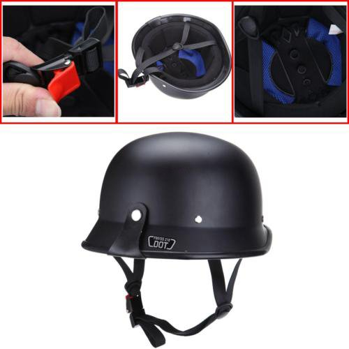 Ambienceo Black DOT Approved ABS Plastic German Adult Style Half Face Motorcycle Helmet for Curiser Touring Scooter (Medium)