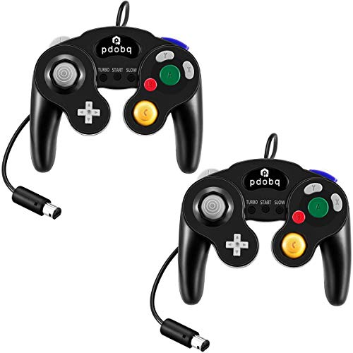 Gamecube Controller, Compatible with Gamecube / Wii U/ Wii / PC / Switch Controller, 2 Packs Classic Wired Gamecube Controller for Super Smash Bros with Turbo Function(2 Black) (Game Cube Wii Controllers)