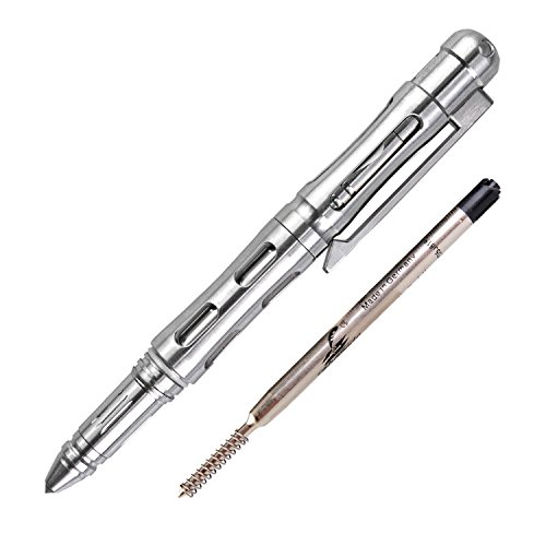 MecArmy TPX22 TC4 Titanium Tactical Survival Pen, Anti-roll Concave-convex Shell with Comfortable Grip, Fisher Space Pen Refill and Pocket Clip Included, Designed for Everyday ()