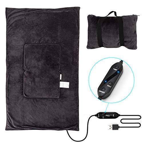 "Travel Heated Blanket Throw USB Heat Lap Cape, Zip into a 9.8"" x 11.8"" Pillow with Carrying Strap for Airplane/ Car/ Camping, 3 Heating Levels and 15/ 30/ 60 Minutes Auto Shut-off Settings, 47"" x 30"""