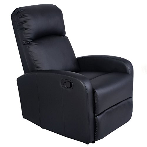 MasterPanel - Manual Recliner Chair Black Lounger Leather Sofa Seat Home Theater #TP3241 by MasterPanel