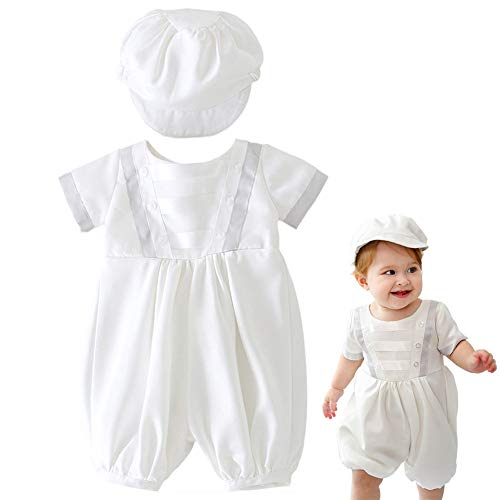 - Meiqiduo Baby Boys Christening Outfit Suit Infant Baptism Birthday Wedding Romper with Hat (6M/6-12Months, Ivory)