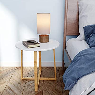 BAMEOS Side Table Modern Nightstand Round Side End Accent Coffee Table for Living Room Bedroom Balcony Family and Office (19.7inx18.7in) - 【RENEWABLE MATERIAL】 The surface is smooth enough with sturdy MDF panel material and UV paint, and the legs of the table are made of bamboo. Bamboo is one of the most environmentally friendly materials in the world. It can grow into bamboo for industrial use in five years. It is renewable, strong and durable. 【STURDY STRUCTURE】 The table legs are made of solid bamboo, a kind of durable and natural material. The table legs are crossed to form a solid angle so that the whole table can stand steadily no matter where it is. 【IDEAL HOME DECOR】 Designed with non-mar foot glides, this coffee table protects floor from scuffs, indentations, and other potential damages. - living-room-furniture, living-room, end-tables - 41swaSL0J4L. SS400  -