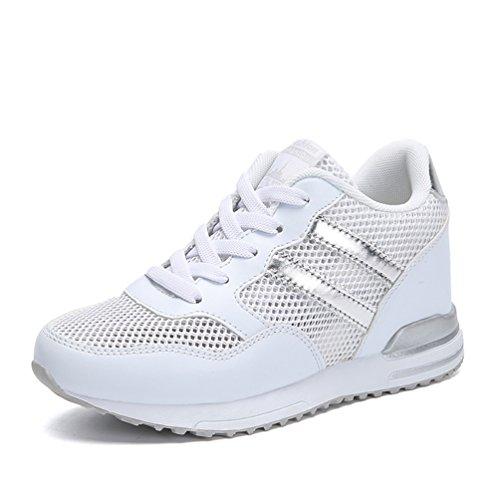 Sneakers Léger Chaussure Marche De Basket Blanc Plus Antidérapant 40 Taille L'intérieur Compensé recommandez Respirant Bulle Avec Un La Montante 3 34 À 5 Cm D'air Femme Pour xAzZawx