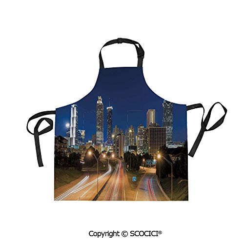 - SCOCICI Printed Unisex Kitchen Bib Apron with Pockets Adjustable Neck,Image of Atlanta Skyline Twilight with Highway Buildings Skyscrapers Blurred Motion,for Cooking Baking Gardening