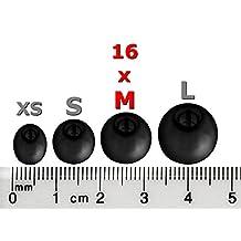 16pcs (B-NSEN) Noise Isolation Comfort Replacement Eartips Earbuds for Sennheiser (M2 IE) Momentum I and Momentum G In Ear Earphones (Black 16pcs Medium)