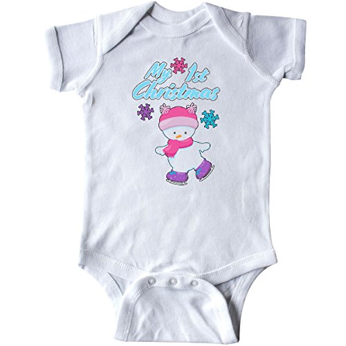 1st Christmas Infant Creeper - inktastic - My 1st Christmas- Skating Snow Girl Infant Creeper Newborn White