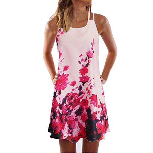 Sunhusing Womens Sling Off-Shoulder Flower Print Tank Top Dress Sleeveless Mini A-Line Beach Sundress Pink