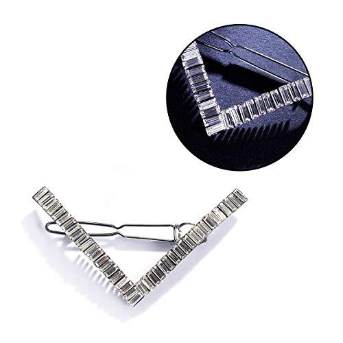 CHIMERA Metal Hair Clips Fashion Geometric V-shape Barrettes Shiny Rhinestone Hairgrip for Women Silver
