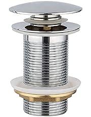 Universeel afvoergarnituur pop-up ventiel – zonder overloop voor wastafel & wastafel – chroom afvoerventiel afvoergarnituur – wastafelstop afvoer incl. 3 afdichtingen voor gangbare wastafels
