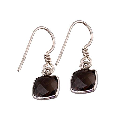 - Sterling Silver Earrings for Summer Gift, Drop Earrings, Cushion Smoky Quartz Earring, Dangle Earrings