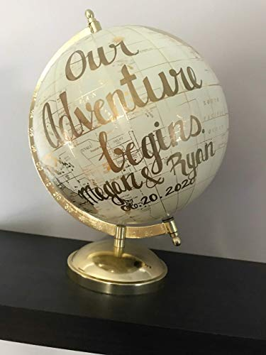 Globe Adventure - Hand painted world globe with quote Our Adventure begins medium size
