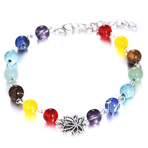 Young & Forever Men's Valentine D'Vine Collection 7 Chakras Lotus Charm Bracelet & Anklet by Young & Forever