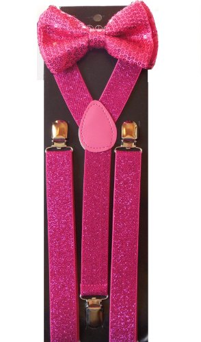 Unisex Awesome Clip-on Braces HOT PINK Sequin Bowtie and Glitter Suspenders Set - Adjustable (Glitter Suspenders)