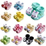 ShopCash Cute Cartoon Face Fancy Booties Socks (Assorted, 0-3 Months) for Babies (Multicolor, Pack of 6)