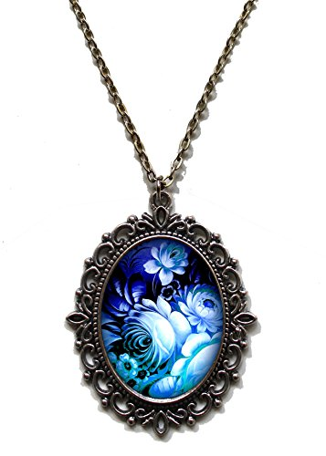 Victorian Vault Art Painting Floral Vintage Flowers Steampunk Pendant Necklace on Chain (Blue)