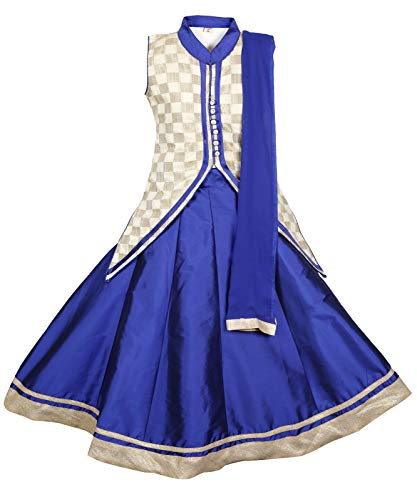 (Ashwini Girls Netted Blue Skirt Top)