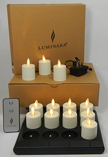 Luminara Rechargeable Flameless Tea Lights: Comes with Charging Base, Remote Control and 12 Rechargeable Tea Light Votive Candles